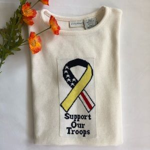 """vintage """"support our troops"""" sweater top"""